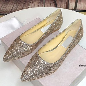 New sequins pointed flat shoes lady designer party dress shoes high-quality flat-heeled female princess luxury wedding shoes qfd