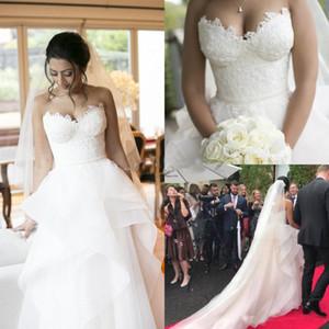 2019 챠밍 컨트리 웨딩 드레스 Sweet Heart Backless Cascading Ruffles 스윕 트레인 레이스 가든 비치 브라이들 가운 robe de mariee