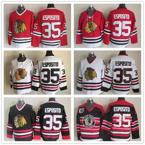 Para hombre de Chicago Blackhawks de hockey jerseys # 35 de Tony Esposito, Tony Esposito Vintage Rojo Blanco Negro 75 aniversario Jersey cosida M-XXXL