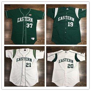주문 동쪽 미시간 독수리 저지 야구 저지 Hight 질 100%바느질된 백색 녹색 어떤 이름 번호 S-4XL