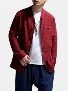 Yaka Gömlek Keten Uzun Kollu Yaz Casual Erkek Giyim Moda Tasarımcısı Yakışıklı Gömlek Katı Renk Mandarin
