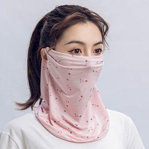 US Stock Women Scarf Face Mask Summer Silk Chiffon Handkerchief Outdoor Windproof Half Face Dust-proof Sunshade Protective Masks Cover