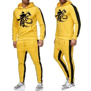 The high quality Bruce Casual Hoodies Pants Mens Sportswear Pant Hoody Sweatshirt Male Suits Jogging Sweatpant 2 Pcs