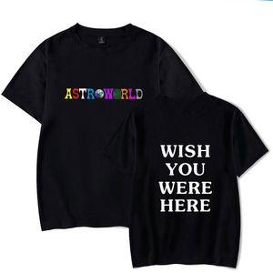 Hip Hop nueva de la manera camiseta de los hombres de las mujeres Travis Scotts AstroWorld Harajuku camisetas gustaría que estuvieras aquí impresión de la letra tes de las tapas