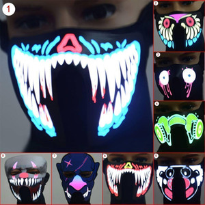 LED luminoso intermitente Máscara Facial máscaras do partido Máscaras Light Up Dança Halloween Cosplay látex Partido LED Bar Luminous chumbo Máscara