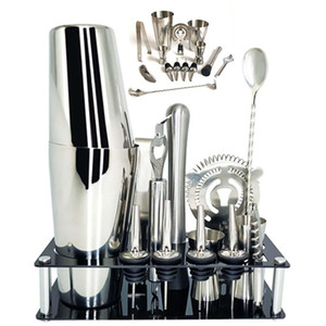 14 Pcs set 600ml 750ml Stainless Steel Cocktail Shaker Mixer Drink Bartender Browser Kit Bars Set Tools with Wine Rack Stand