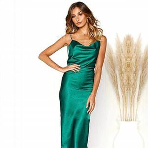 Sommer Frauen Punkte Sling Röcke Seide Wie Reine Farbe, Figurbetontes Kleid Fashion Party Home Kleidung Plus Größe 28yd E1