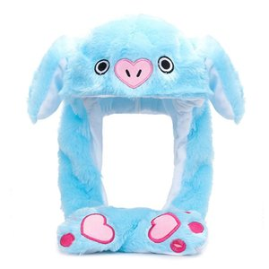 2020 New Cute Bunny Pig Animal Plush Hat Airbag Moving Jumping Ears Toy Gift Cap with Paw