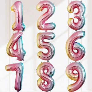 32-дюймовый воздушный шар с Днем Рождения прополка праздничное украшение постепенное круговое алюминиевое покрытие воздушный шар номер от 0 до 9 LJJA2916