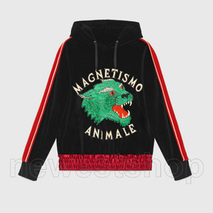 fashion designer clothes for mens italy MACNETISMO ANIMALE silk wolf embroidery sleeve striped velvet hoodies pullover hooded sweatshirt