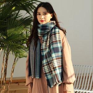 2020 autumn winter new fashion color color check imitation cashmere temperament scarf woman