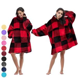 여성 격자 무늬 담요 까마귀 후드 풀오버 특대 거대한 긴 소매 운동복 소프트 착실히 보내다 겨울 후드 코트 홈 의류 LJJA3060-12