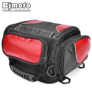 BJMOTO Universal Motorcycle Luggage Bag Saddle Bags Motorbike Racing Backpack Helmet Tank Bag Travel Tail Black with Red