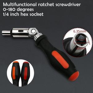 Ratchet chave de fenda 180 graus T do tipo dobrável chave de fenda de 1/4 Hex interface de bloqueio Ferramentas Desmonte Manutenção