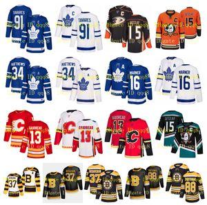 NHL Toronto Maple Leafs Jersey John Tavares Calgary Flames Auston Matthews Boston Bruins Patrice Bergeron Anaheim Ducks Ryan Getzlaf Hockey