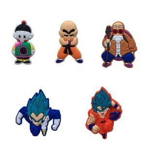 1pcs Dragon Ball Action Figure Cartoon PVC Shoe Charms Shoes Accessories Buckles fit Wristbands Bracelets Croc JIBZ Kids Gift