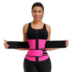 Los Estados Unidos de doble cinta 100% de látex de la cintura Trainer Body Shapers aptitud cintura Trainer Fajas Cierre adelgaza la correa Fajas
