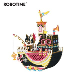 Robotime New Arrival DIY 3D Fishing Kitty Wooden Puzzle Game Assembly Music Box Toy Gift for Children Adult AMD42 Y200413