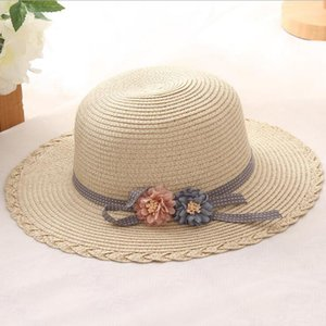 2018 Summer Kids Sun Hats Bow Straw Hat For Girls Children Vacation Beach Panama Hat Flower bow Straw Hats Retail and wholesale