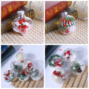 3styles Transparente bola de Navidad de Navidad de plástico redonda bolas del árbol ornamentos colgantes decoración del hogar de la fiesta de Navidad DecorationsT2I5475