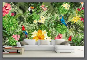 Tapeten Hand Painted Parrot Tropischer Regenwald tropische Pflanzen Zeichentrick-Hintergrund Wohnzimmer Heim Deco