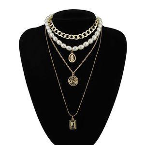 Free DHL Wild Multi-Capa Pearl Collar Female Coin Crystal Colgante Suéter Cadena Accesorios de Moda Regalos Collar largo