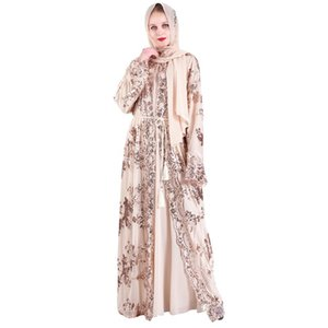 Mujeres musulmanas lentejuelas kimono alta calidad lujo Abaya bordado Maxi lentejuelas Abaya bata Kaftan Dubai
