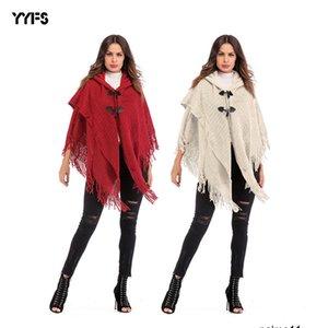 Womens дизайнер кисточкой двубортный свитер с капюшоном летучей мыши рукав плаща платок E4VS