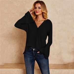 Flare manches pour femmes T-shirt décontracté col V à manches longues femmes tshirts Patchwork Mode Femmes Hauts Vêtements