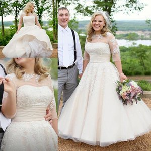 Vintage Ankle-length Wedding Dresses with Half Sleeve Lace Applique Plus Size Beige Countryside Wedding Bridal Gowns Vestido De Novia