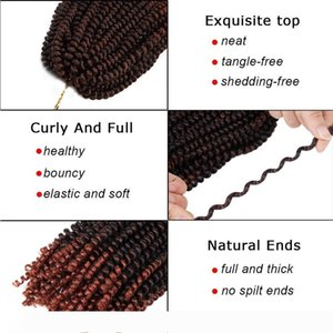 3Pcs lot Spring Twist Hair Ombre Colors Crochet Braids Bomb Twist Hair Synthetic Braiding Hair Extensions Low Temperature Fiber (8inch,T350)