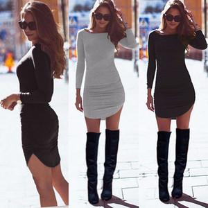 Femmes Sexy Ladies Robe de soirée à manches longues Tunique Casual Top court Bodycon Mini automne Drop Shipping Vêtements Designer