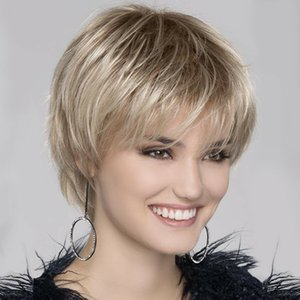 Women Ombre Gold Blonde Synthetic Short Straight Hair Full Wig with Bangs