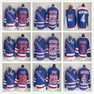 Vintage CCM New York Rangers Hokey Formalar 22 Mike Gartner 23 Jeff Beukeboom 28 Tie Domi Kraliyet V-Yaka 91-92 Mavi 75. Yıl Jersey