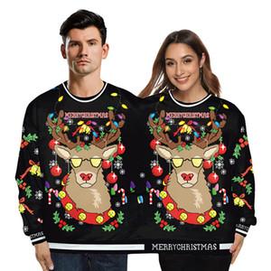 2019 Natal Outono-Inverno Sweater novidade Impressão 3D Funny Couple Conjoined em torno do pescoço Camisola feia do Natal