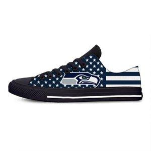 2020 Женщины Холст обувь Мода Сиэтл Печать вулканизированной обуви шнуровке Повседневная Сихоукс Футбольные болельщики кроссовки