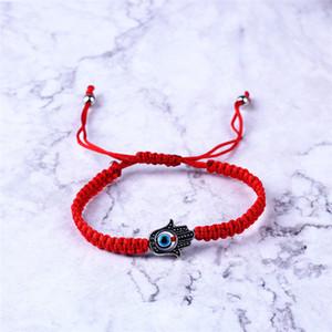 Handwoven pulseira Sorte Pulseira Kabbalah Red cordas Tópico Hamsa Pulseiras azul Turco Mal Charme Eye Jóias Fátima pulseira EFJ793