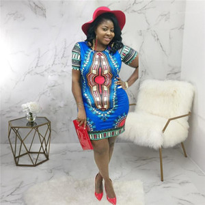 Robe ethnique été Designer Plus Taille lambrissé en vrac Robe crayon Les femmes de la mode New Style Vêtements Femmes Vintage Imprimer