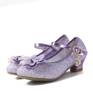 Bebés Meninas Cristal bowknot Calçados Toe Rodada Mulheres High Heel Cinderella Princesa Desempenho Dança Bombas de casamento Crianças Shoes