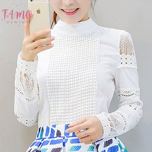 2020 New Fashion Women Office Crochet Lace Shirt Long Sleeved White Blouses Amp; Shirts Plus Size Ladies Casual Tops S 5Xl