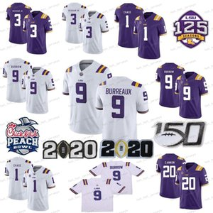NCAA 2020 LSU Tigers # 9 Joe Burrow Burreaux Odell Beckham Jr. Grant Delpit Tyrann Mathieu Leonard perseguição College Football Jersey