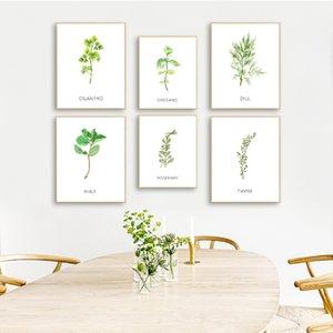 Erbe Wall Art Canvas Poster e Stampe Acquerello origano Coriandolo Tela Pittura Immagini Botanical Wall Kitchen Art Decor