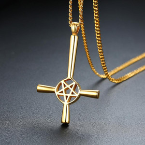 Stainless Steel Gold Pentagram Cross Pendant Necklace Star of David Cross Jewelry Necklaces Gift For Him