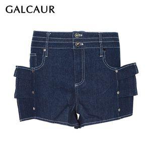 GALCAUR Verão Denim Ruffles retalhos Shorts para Button Mulheres cintura alta magro sexy Shortses feminina Moda Roupa 2019