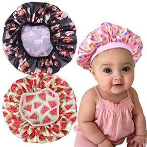 غطاء الرأس أزياء أطفال الزهور الحرير بونيه فتاة الحرير ليلة النوم كاب العناية بالشعر لينة كاب التفاف بيني سكولي 6 ألوان