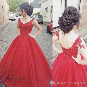 2019 Modern Red Tulle Prom Dress Cheap Short Sleeves Lace Backless Formal Holidays Wear Graduation Evening Party Gown Custom Made Plus Size