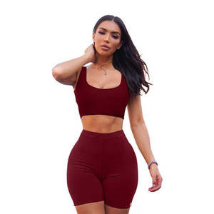 5 Colors Stretch Large Size Sexy Wrapped Chest Slim two-piece Suit Sleeveless Vest shorts Women's Casual new