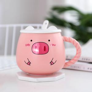 400 ML sevimli domuz seramik kupalar pembe domuz kahvaltı süt fincan kapak kaşık ile lady hediye kahve kupa kolu yaratıcı seramik bardak
