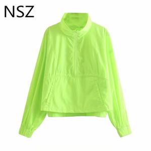 NSZ Женщины неоновый зеленый Водонепроницаемый куртка с длинным рукавом на молнии Карман пальто Модные пиджаки Пуловеры