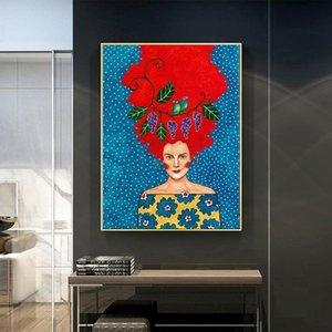 Modern Nordic Style Wall Art Canvas Figure Painting Beauty Woman Flowers Decorative Pictures for Living Room Home Decor